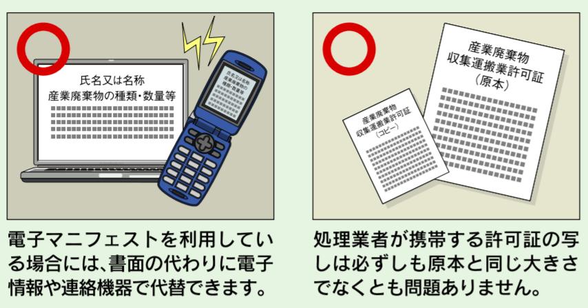 電子マニフェストと許可証の写しの注意点
