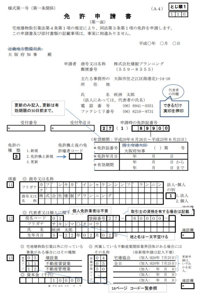 大阪府の宅建業免許新規申請用紙